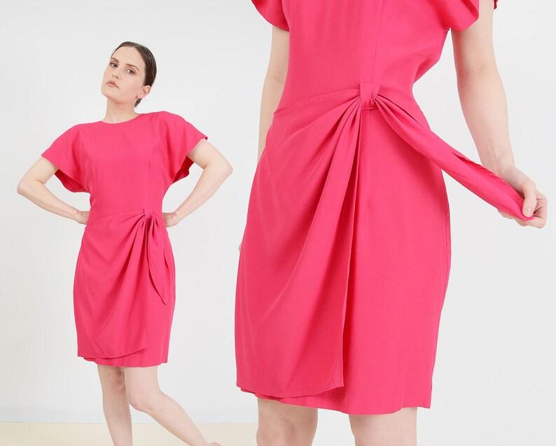 Vintage 80s Magenta Pink Dress  size 7 8  Wrap Around Sarong image 0