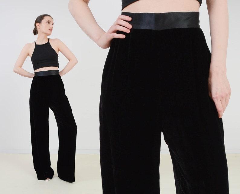 Vintage 90s Black Velvet Pants  High Waist Wide Leg Trousers image 0