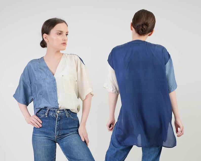 Vintage 90s Color Block Silk Shirt  Off White Blue Oversized image 0