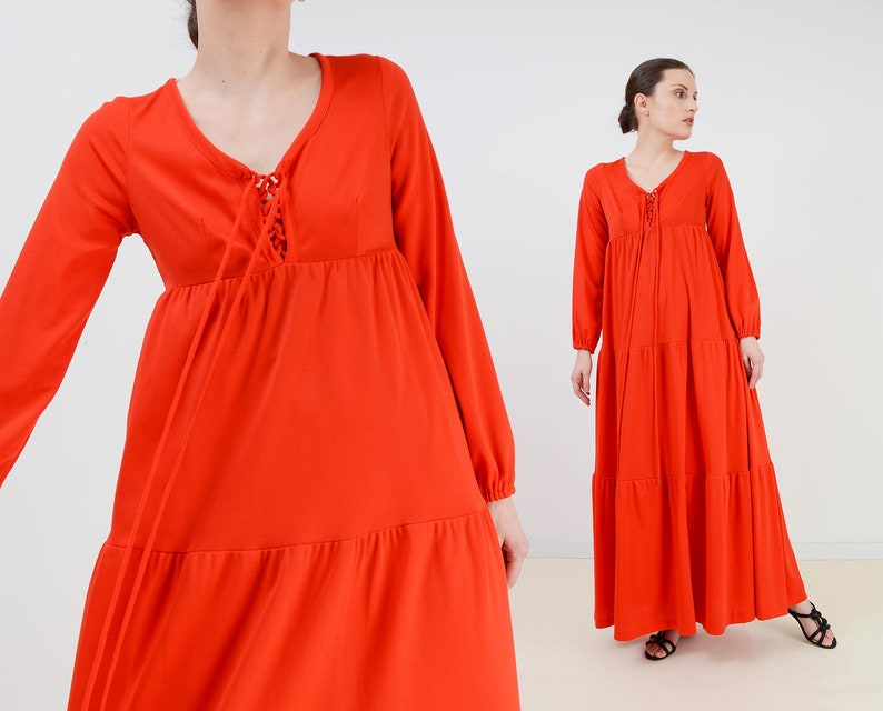 Vintage 70s Vibrant Orange Maxi Dress  Lace Up Empire Waist image 0