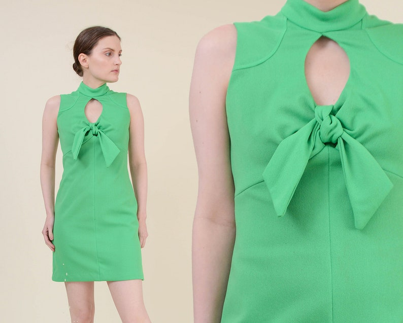 Vintage Lime Green Mini Dress  size XS S  Cut Out Keyhole image 0
