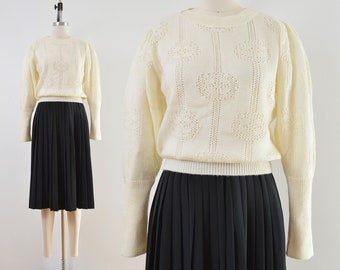 Vintage 70s Cream Pointelle Knit Sweater | Puff Sleeve Semi Sheer Sweater | size XS S