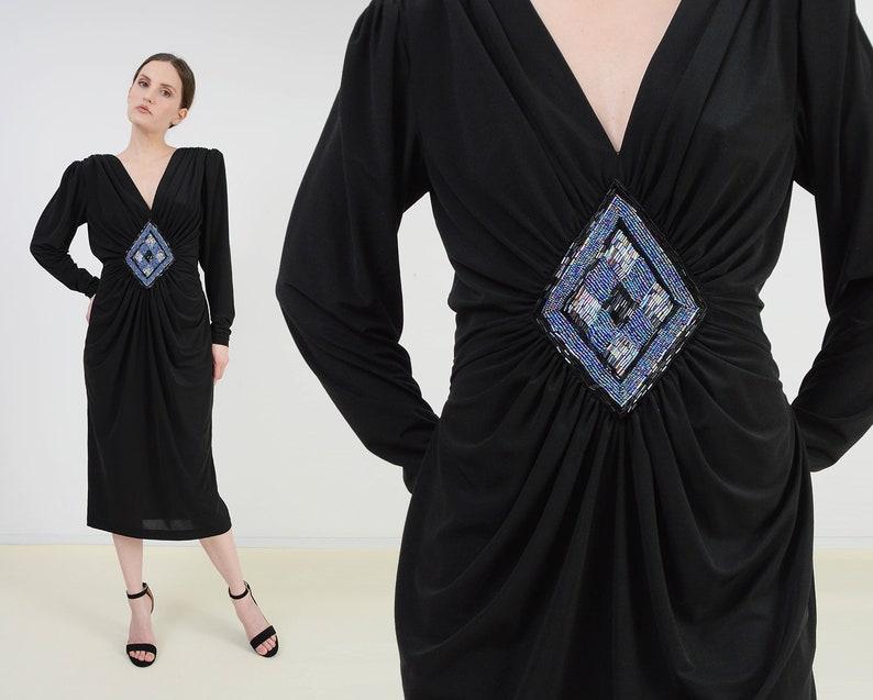 Vintage 80s Black Draped Cocktail Dress  Blue Diamond Beaded image 0