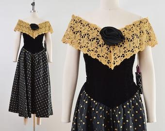 Vintage 80s Velvet Polka Dot Party Dress | Black and Gold Lace Off Shoulder Dress | size S M