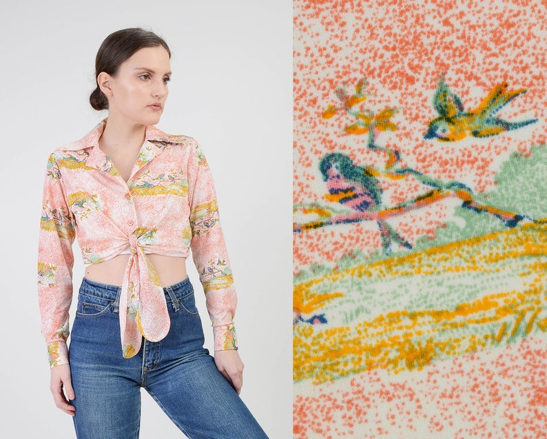 Vintage 70s Bird Print Blouse  Tie Waist Crop Top  Collared image 0
