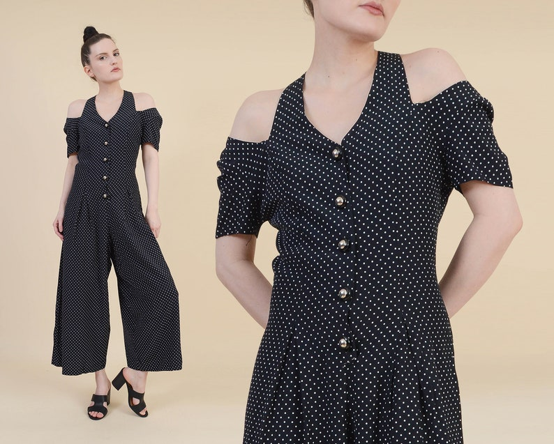 07eb966ad0e1 Vintage 90s Polka Dot Jumpsuit size Small Black and White