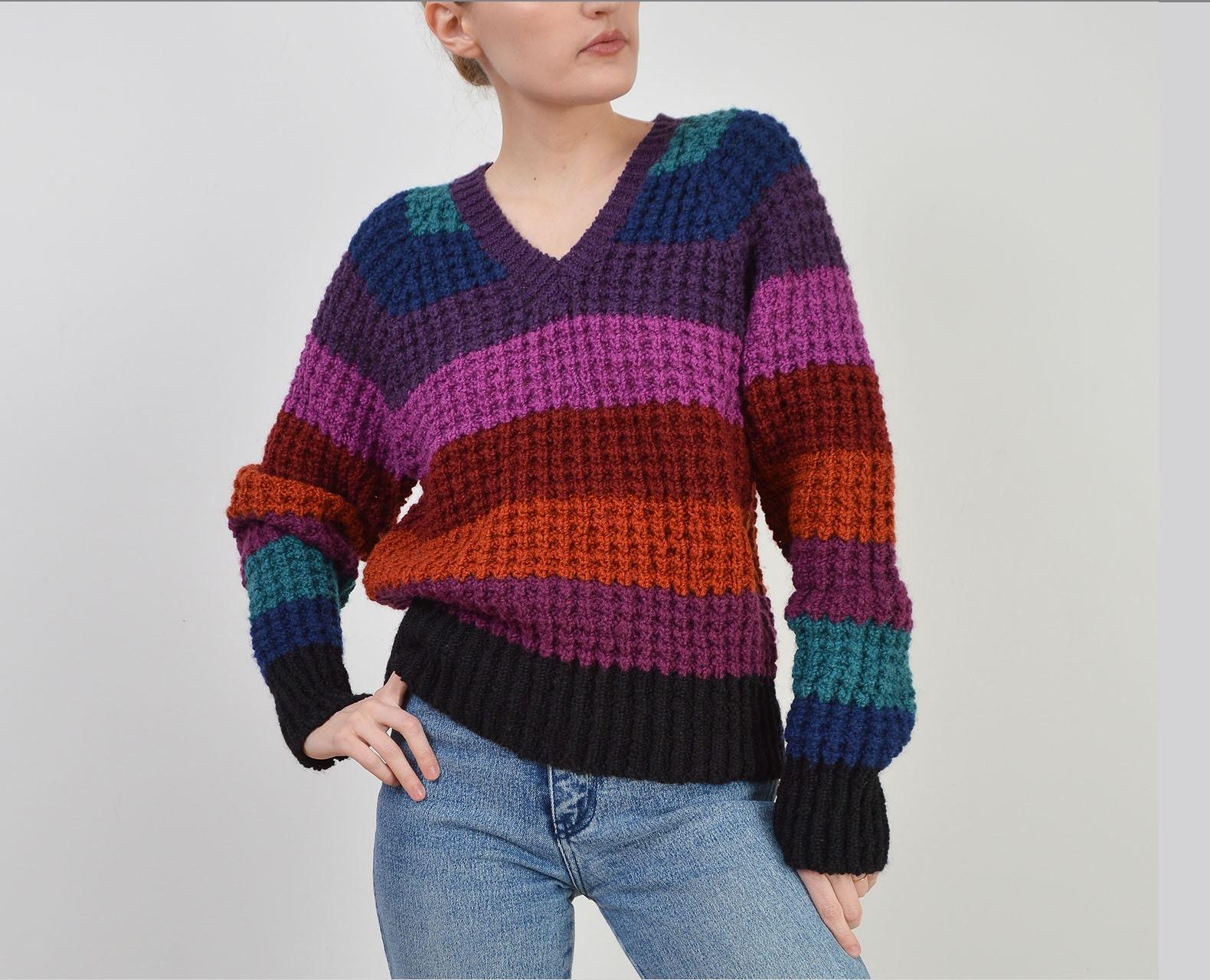 80s Sweatshirts, Sweaters, Vests | Women Vintage 80S Striped Sweater  Jewel Tone Nubby Wool Blend Knit V Neck Size S M $40.00 AT vintagedancer.com