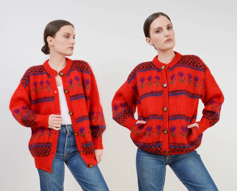 Vintage 80s Red Mohair Wool Cardigan  Checkered TULIP Graphic image 0