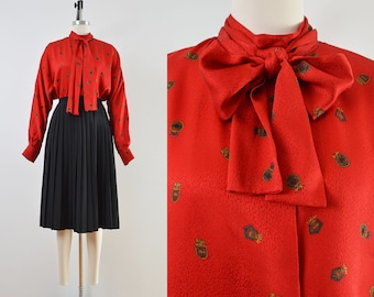 Vintage 80s Red Crest Print Blouse | Silk Satin Blouse | Pussy Bow Neck Tie Top