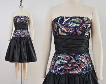 Vintage 80s Victor Costa Dress | Black Paisley Sequin Dress | Strapless Drop Waist Party Dress | size Small