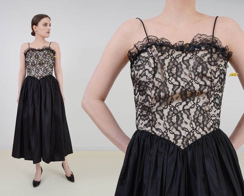 Vintage 80s Taffeta and Lace Party Dress  Black and Cream image 0