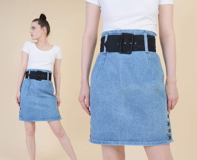b1b20c1361 Vintage Denim Pencil Skirt Light Waist Jean Skirt ULTRA High | Etsy