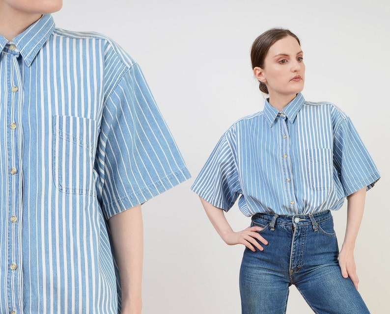 Vintage 90s Striped Cotton Shirt  Blue White Chambray Denim image 0