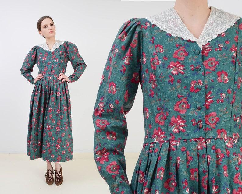 Vintage Laura Ashley Dress  Green Floral Cotton Dress  Puff image 0