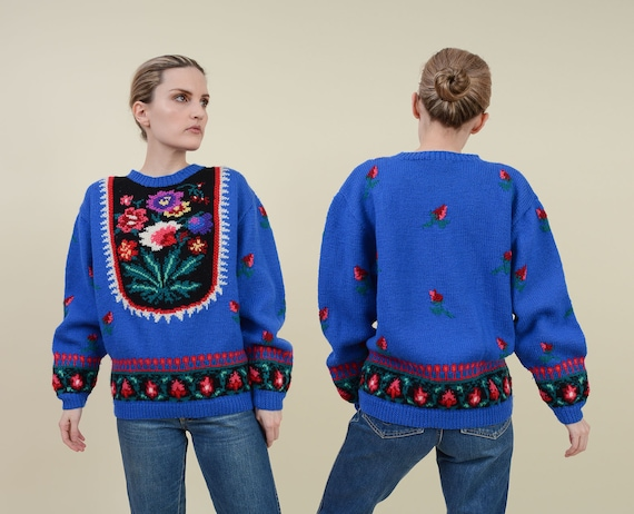 Vintage 80s Blue Floral Sweater | Wool Hand Knit S