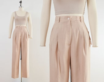 Vintage 90s Tan Beige Trousers   Pleated Front Relaxed Fit High Waist Pants   size XS S