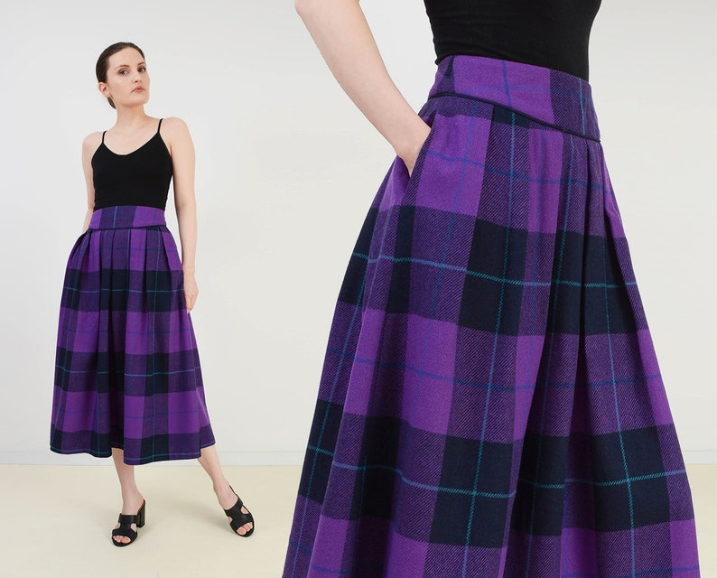 Vintage 80s Purple Tartan Plaid Skirt  30 inch waist  High image 0