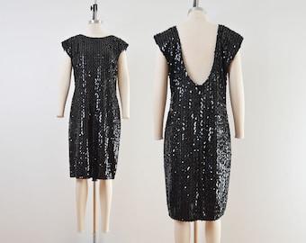 Vintage 80s Black Lurex Knit Dress   Sequin Open Back Cap Sleeve Dress   size S M