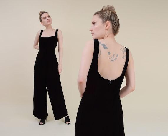 Vintage 90s Black Velvet Jumpsuit | Wide Leg Onesi