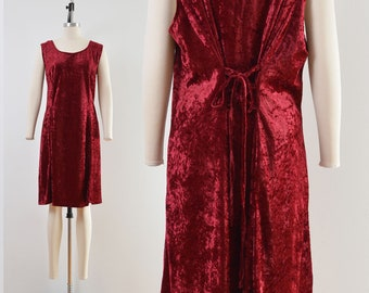 Vintage 90s Burgundy Crushed Velvet Dress | Lace Up Back Witchy Grunge Dress | size XL XXL
