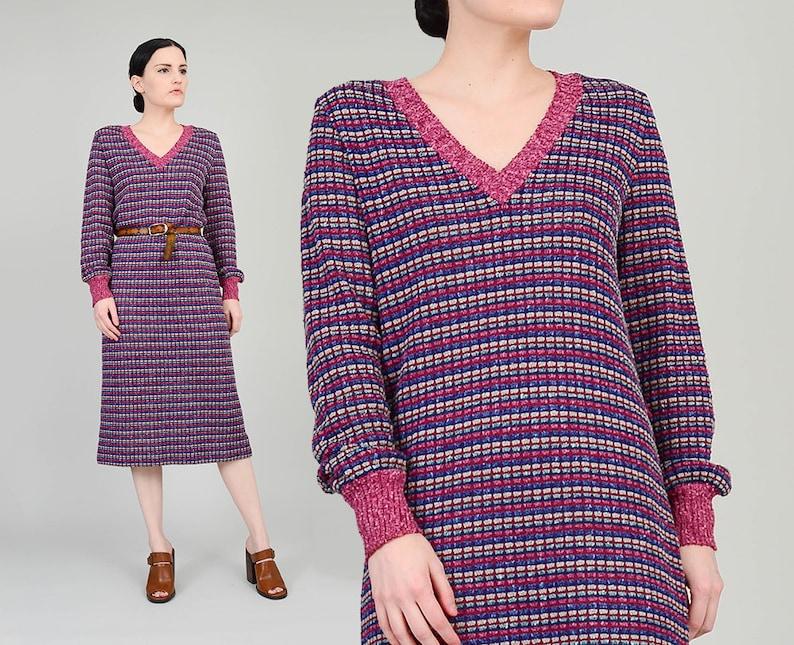 798f7ff4119 Vintage 70s Striped Sweater Dress size S M V Neck Semi