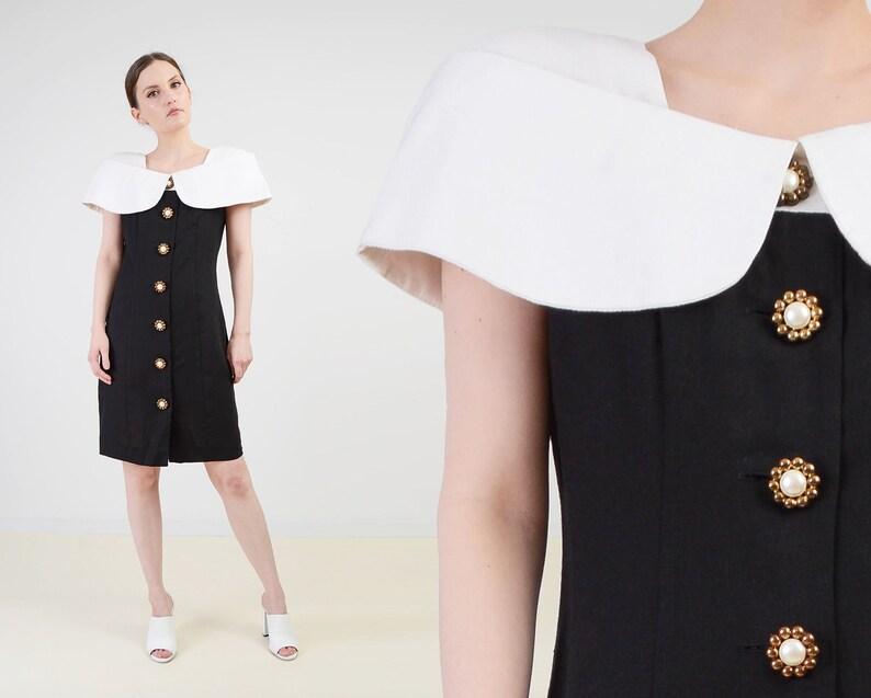Vintage 80s Black and White Linen Blend Dress  Minimal Off image 0