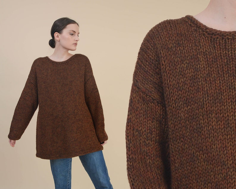 337e41e21d6034 Vintage 90s Brown Hand Knit Sweater size S M Wool Blend | Etsy