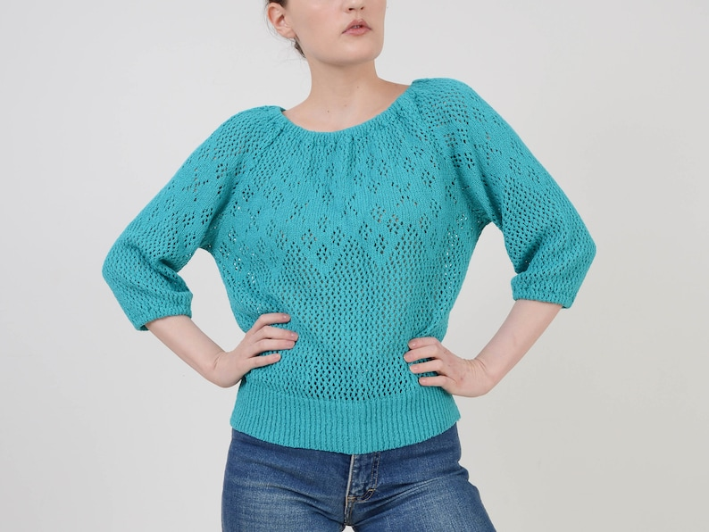 Vintage 70s Turquoise Crochet Sweater  Slouchy Open Knit Top image 0