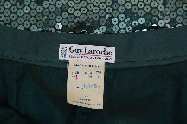 Green Sequin Skirt size XS S 25 waist Vintage 80s Guy Laroche Skirt High Waist Maxi Skirt with Slit