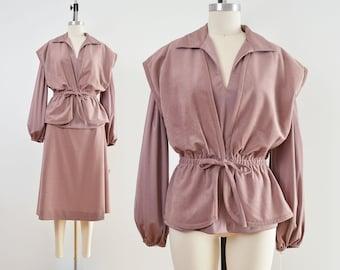 Vintage 70s Dusty Mauve 3 Piece Set | A-line Midi Skirt | Nipped Waist Vest | size Large