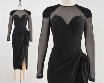Vintage 90s Black Stretchy Sheer Mesh Dress | Sweetheart Neckline Wrap Around Sarong Dress | size Small