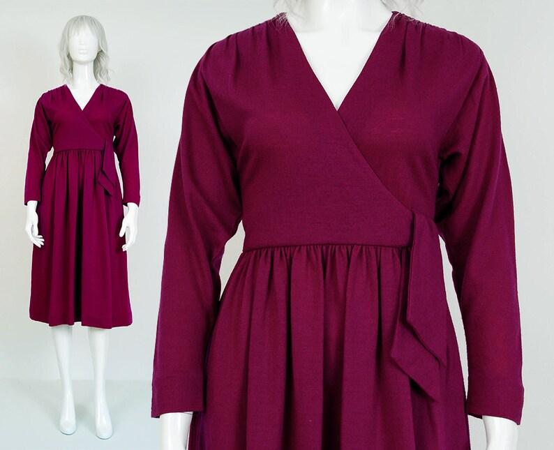 712335f4111f 70s Purple Sweater Knit Dress size XS S LANZ Original