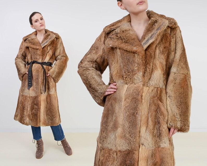 Vintage 70s Brown Rabbit Fur Coat  Long Princess Coat  Boho image 0
