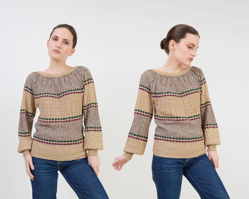 Vintage 70s Organically Grown Striped Sweater  Cotton and image 0