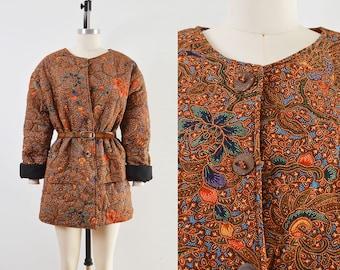 Vintage Quilted Cotton Jacket | Boho Floral Chore Jacket | size M L