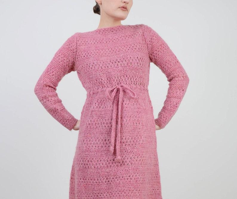 Semi Sheer Hand Knit Mohair Wool Dress Vintage Pink Crochet Dress size S M