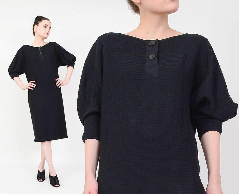 61e1efb3af1 80s Black Jersey Knit Dress size XS Dolman Sleeve Minimal
