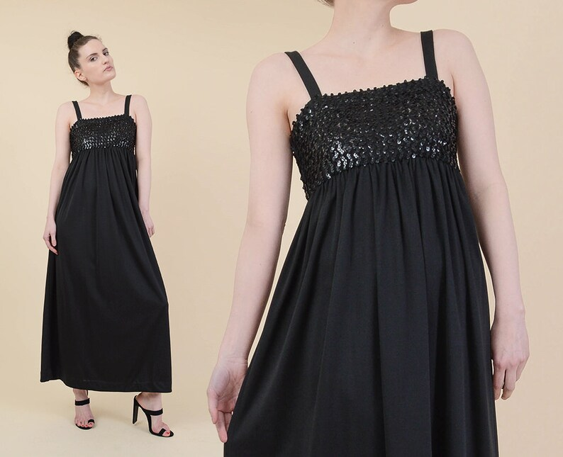 Vintage 70s Black Sequin Evening Dress size