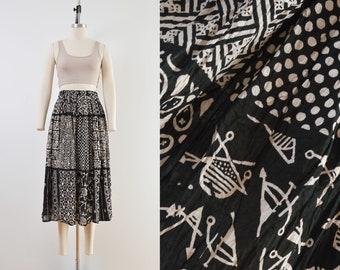 Vintage 90s Indian Cotton Skirt | Bohemian Full Maxi Skirt Beige Black Mixed Print | size M L