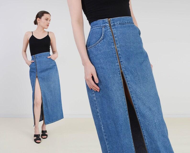 Vintage 90s Denim Maxi Skirt  Zipper Front Skirt  Long image 0