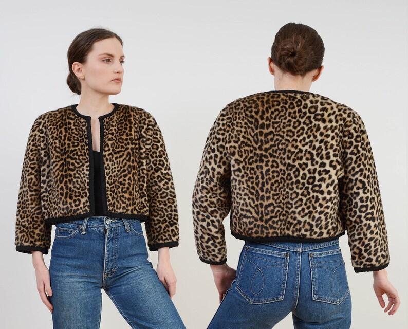 Vintage 50s 60s Leopard Faux Fur Bolero Jacket  Cropped image 0