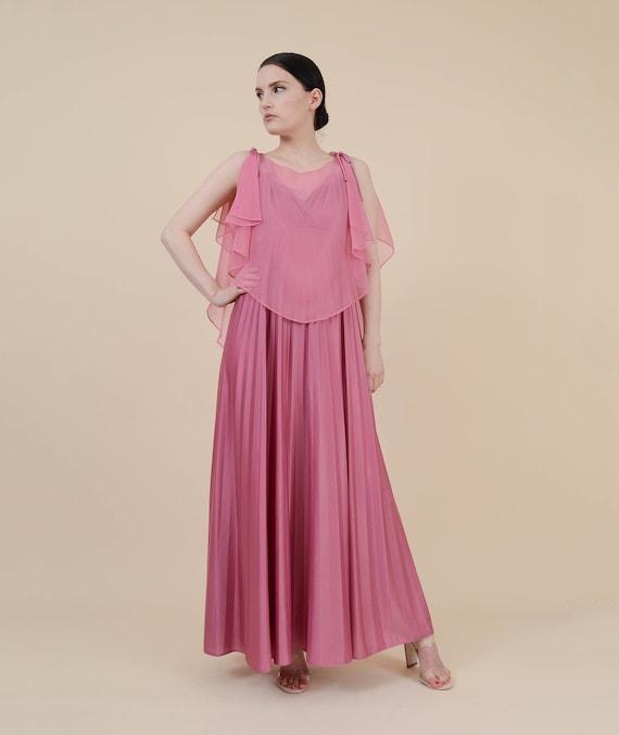 Boho Small Dress Pink Pleated Maxi Waist Goddess Accordion Dress Sheer Grecian Long Cape Empire Formal size S 70s XS Chiffon Hxn6PqHw