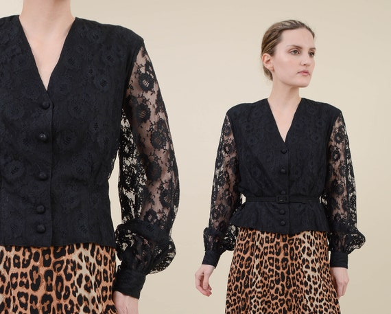 Vintage 80s Black Lace Blouse | Sheer Sleeve Butto