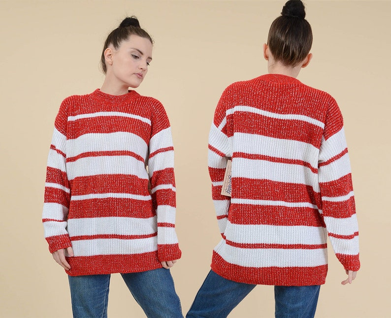 357fef5584f076 80s Striped Sweater size M L Red and White Lurex Knit