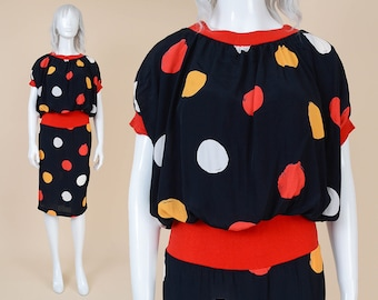 80s Black Polka Dot Dress | size Medium | Mod Artsy Print Blouson High Waist Short Sleeve Knee Length Dress Red Yellow White | M 8 10