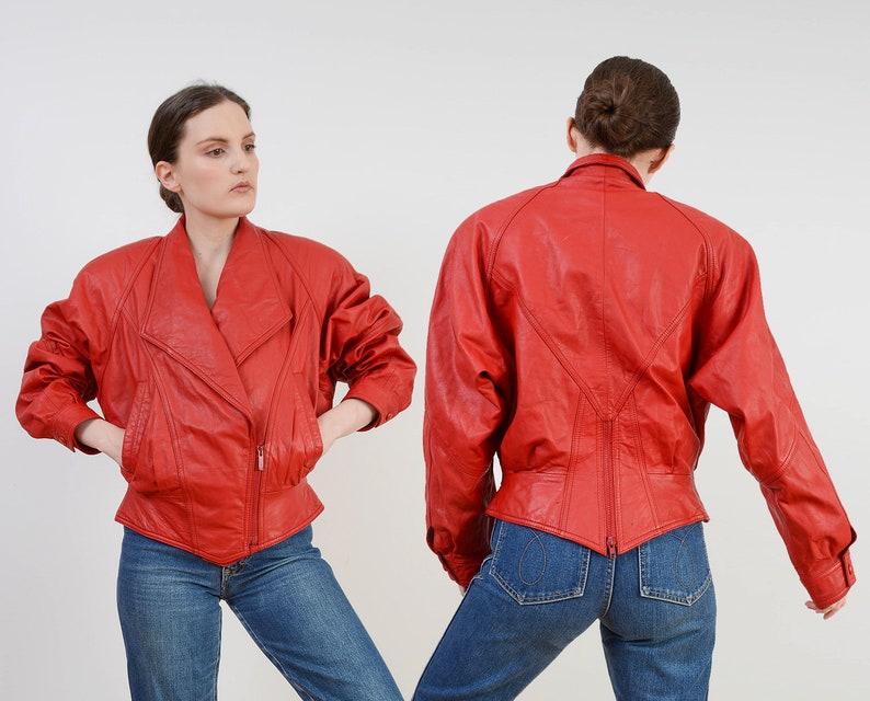 Vintage Red Leather Jacket  Dolman Sleeve Biker Jacket  image 0
