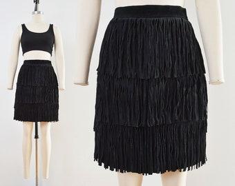 Vintage Black Suede Skirt | FRINGE Mini Skirt | Leather Pencil Skirt | size Small