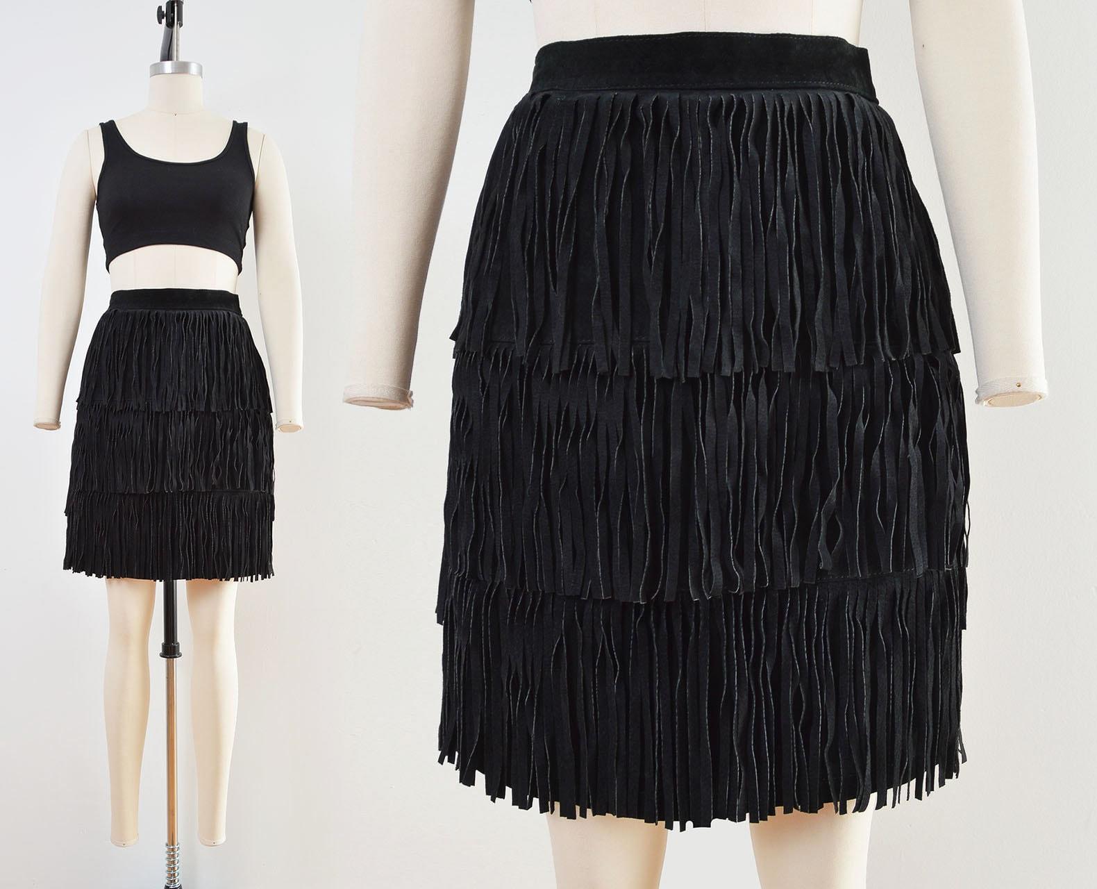 80s Dresses | Casual to Party Dresses Vintage Black Suede Skirt  Fringe Mini Leather Pencil Size Small $58.00 AT vintagedancer.com