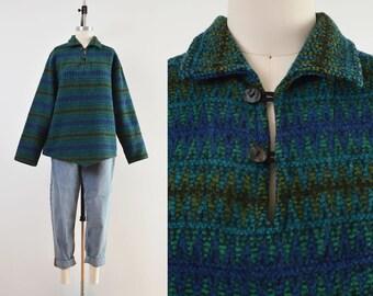 Vintage 50s 60s Fox Knapp Wool Pullover   Striped Collared Shirt Green Blue Black   Unisex L XL