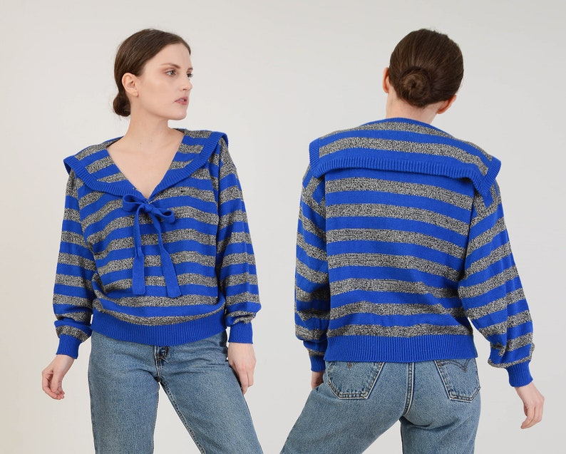 Vintage 80s Striped Sweater  Sailor Collar Sweater  Tie Neck image 0